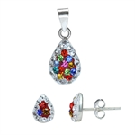 3-Piece Multi Colored Crystal Rhinestone 925 Sterling Silver Drop...