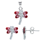 3-Piece Siam, Light Rose Pink & White Crystal 925 Sterling Silver...
