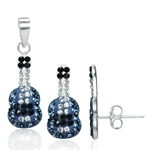 3-Piece Montana Blue, Jet Black &White Crystal 925 Sterling Silve...