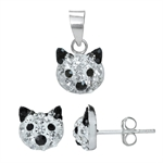 3-Piece Jet Black & White Crystal Rhinestone 925 Sterling Silver ...