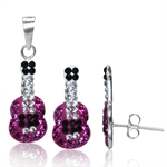 3-Piece Fuchsia, Jet Black &White Crystal 925 Sterling Silver Gui...