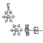 3-Piece CZ White Gold Plated 925 Sterling Silver Snowflake Earrin...