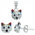 3-Piece Multi Colored Crystal Rhinestone 925 Sterling Silver Cat ...