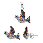 3-Piece Multi Colored Crystal 925 Sterling Silver Peace Bird/Dove...